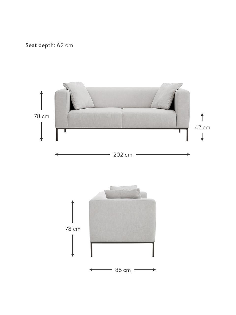Sofa z metalowymi nogami Carrie (3-osobowa), Tapicerka: poliester 50 000 cykli w , Tapicerka: wyściółka z pianki na zaw, Nogi: metal lakierowany, Szary, S 202 x G 86 cm