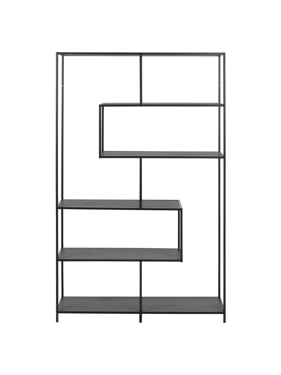 Estantería de madera y metal Seaford, Estantes: tablero de fibras de dens, Estructura: metal con pintura en polv, Negro, An 114 x Al 185 cm