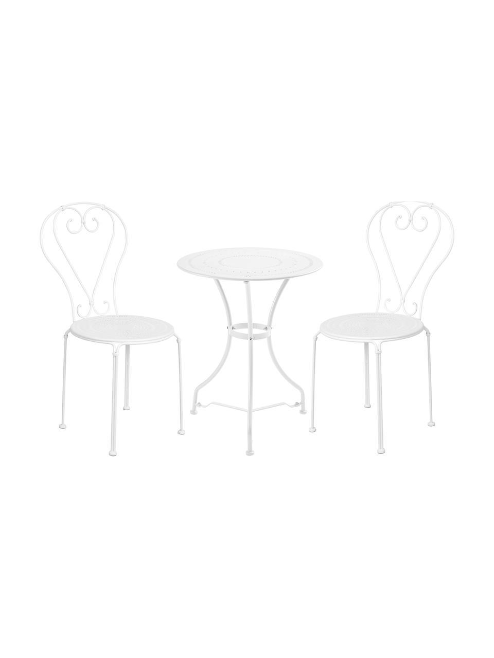 Balkonset Century aus Metall, 3-tlg., Metall, pulverbeschichtet und lackiert, Weiß, Set mit verschiedenen Größen