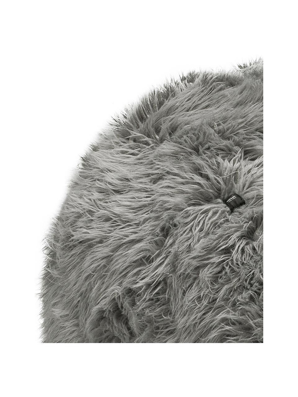 Fauteuil poire en fourrure synthétique Flokati, Gris