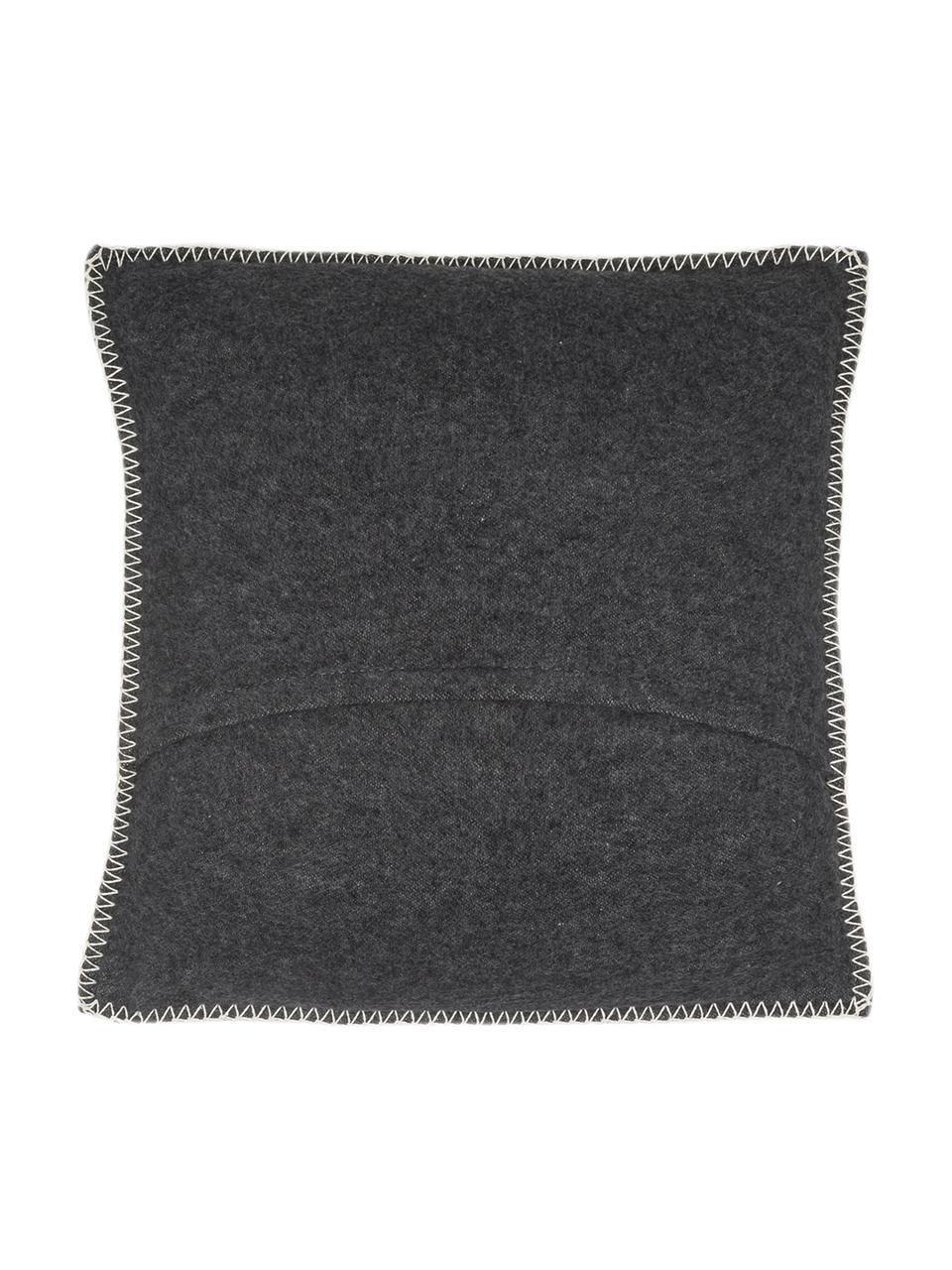 Weiche Fleece-Kissenhülle Sylt mit Steppnaht, 85% Baumwolle, 8% Viskose, 7% Polyacryl, Anthrazit, 40 x 40 cm