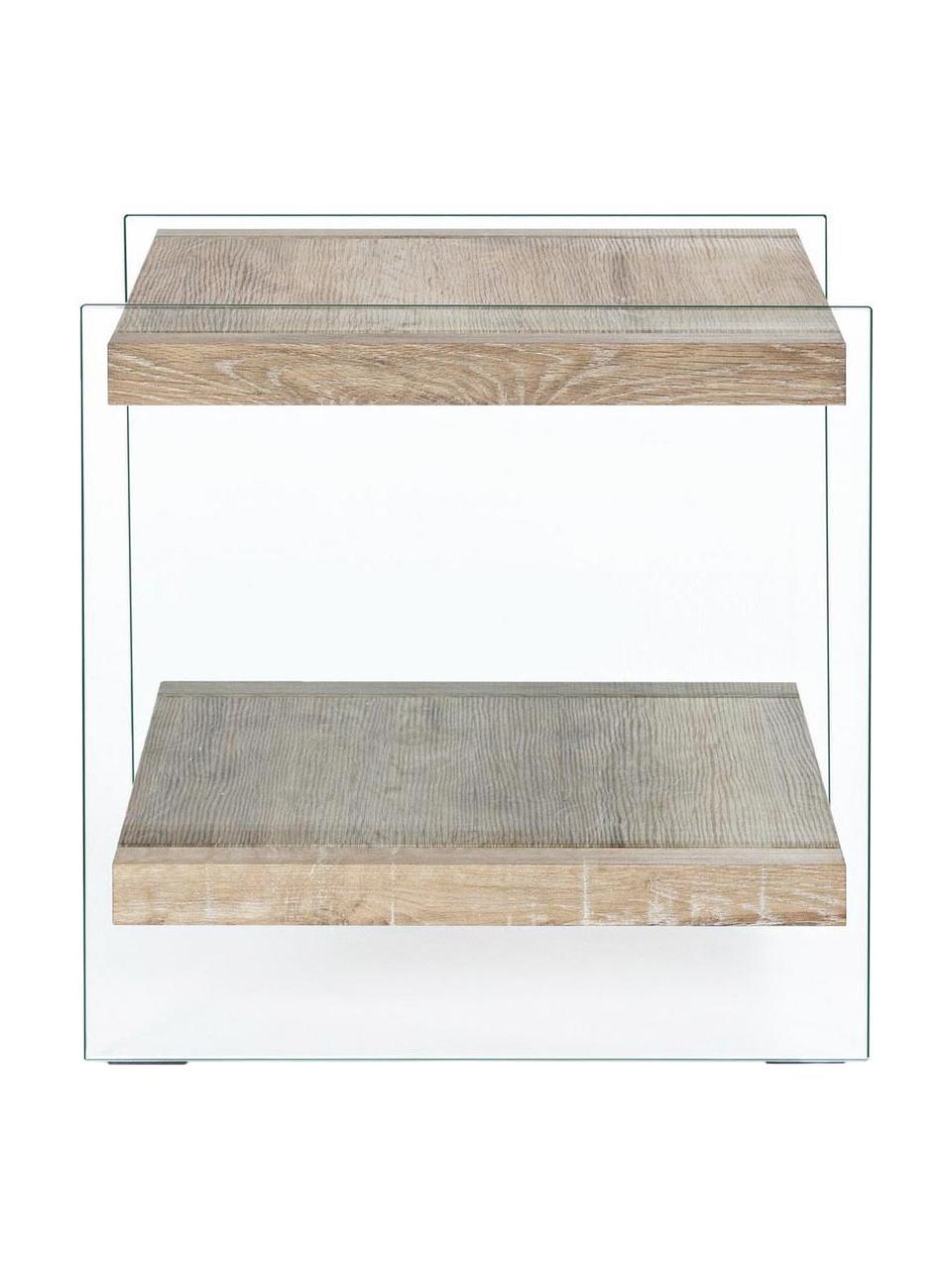 Tavolino con 2 ripiani Kenya, Struttura: vetro temperato (12 mm), Trasparente, marrone, Larg. 50 x Alt. 50 cm