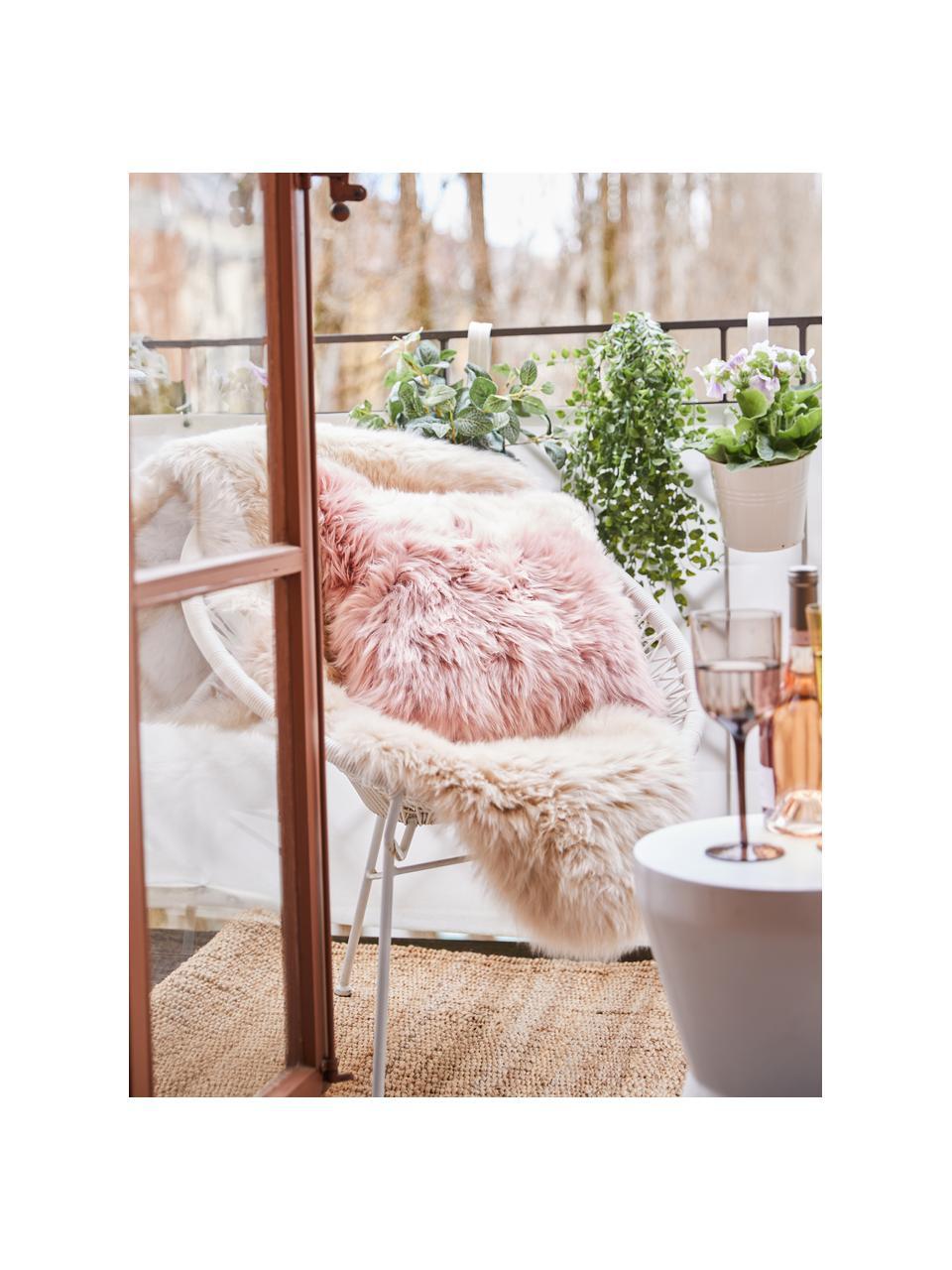 Poszewka na poduszkę ze skóry owczej Oslo, Przód: różowy Tył: jasnoszary, S 40 x D 40 cm