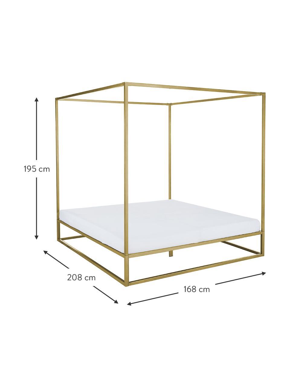 Hemelbed Belle van metaal, Vermessingd metaal, Mat goudkleurig, 160 x 200 cm