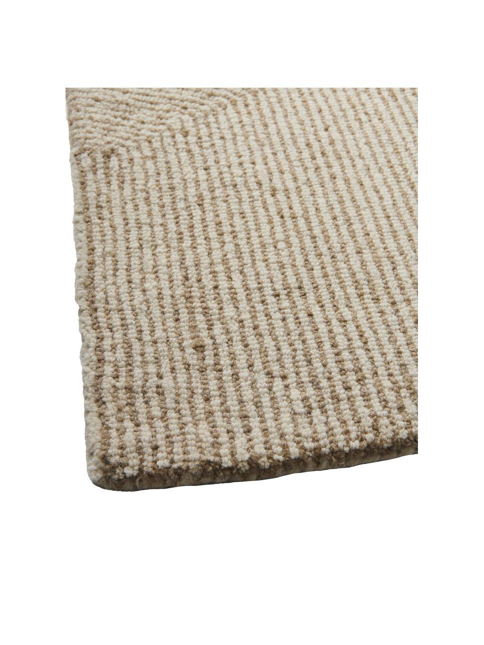 Großer handgewebter Teppich Canyon mit wellenförmiger Musterung in Beige/Weiß, 51% Polyester, 49% Wolle, Beige, B 200 x L 300 cm (Größe L)