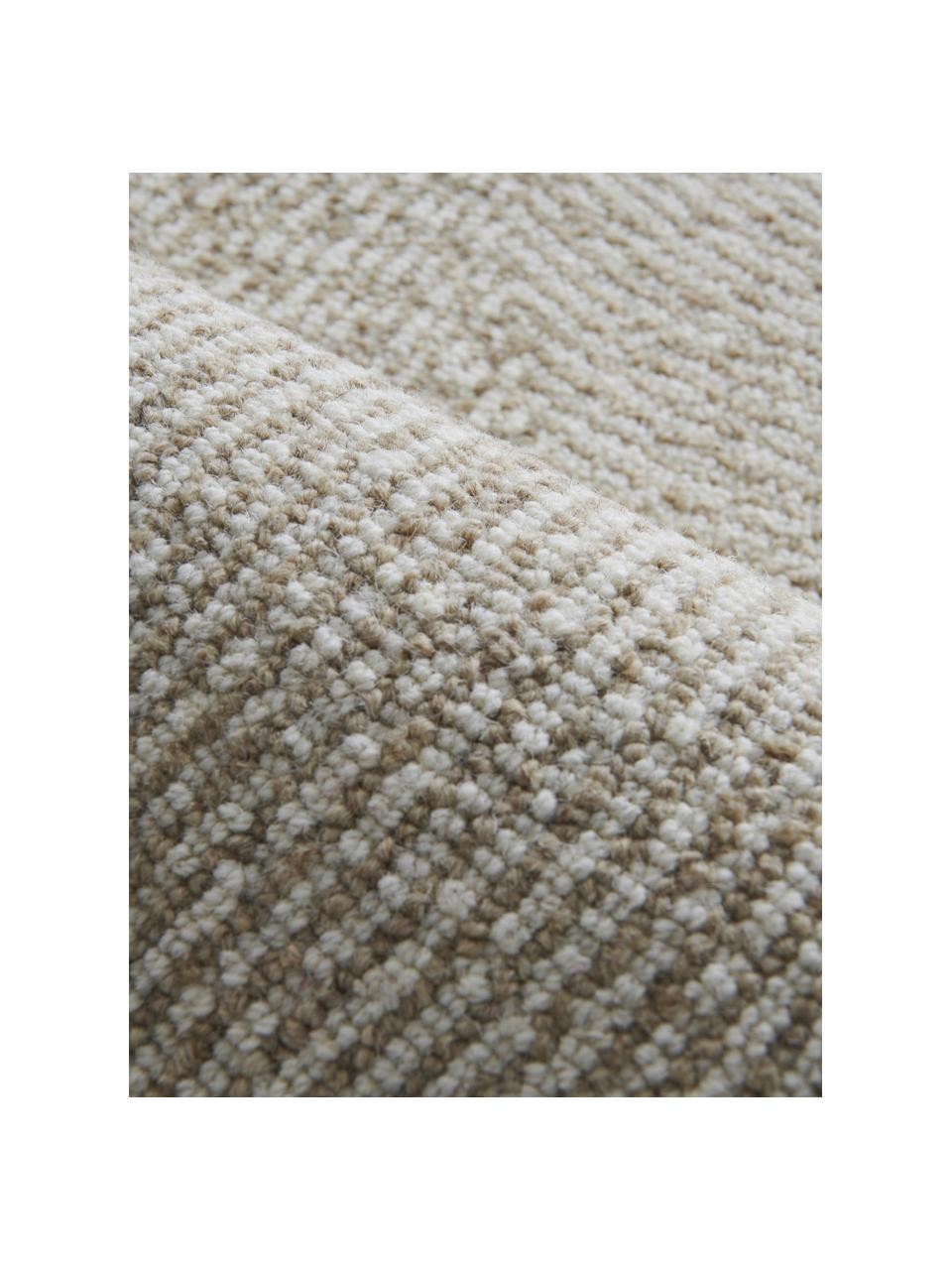 Tappeto tessuto a mano con motivo ondulato Canyon, 51% poliestere, 49% lana, Beige, Larg. 200 x Lung. 300 cm (taglia L)