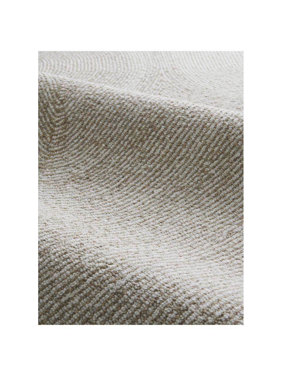 Handgeweven vloerkleed Canyon met golfachtig patroon in beige/wit, 51% polyester, 49% wol Bij wollen vloerkleden kunnen vezels loskomen in de eerste weken van gebruik, dit neemt af door dagelijks gebruik en pluizen wordt verminderd., Beige, B 200 x L 300 cm (maat L)