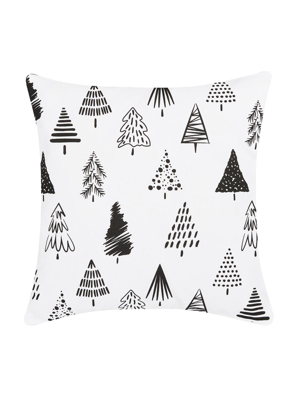 Kissenhülle Scandi mit Weihnachtsbäumen in Schwarz/Weiß, Baumwolle, Weiß, Schwarz, 40 x 40 cm