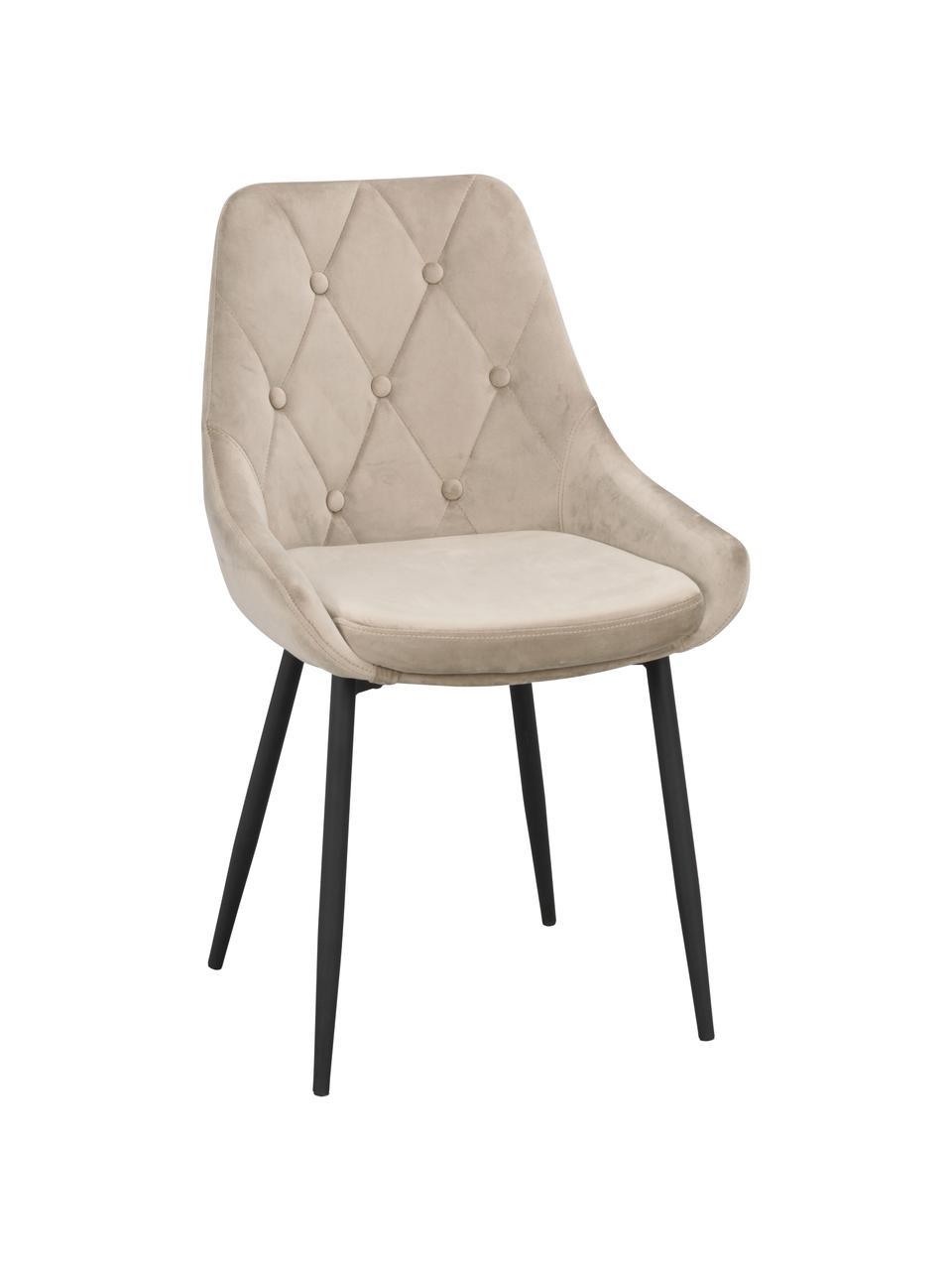 Sedia imbottita in velluto Alberton 2 pz, Rivestimento: 100% velluto di poliester, Gambe: metallo verniciato, Beige, nero, Larg. 59 x Alt. 62 cm