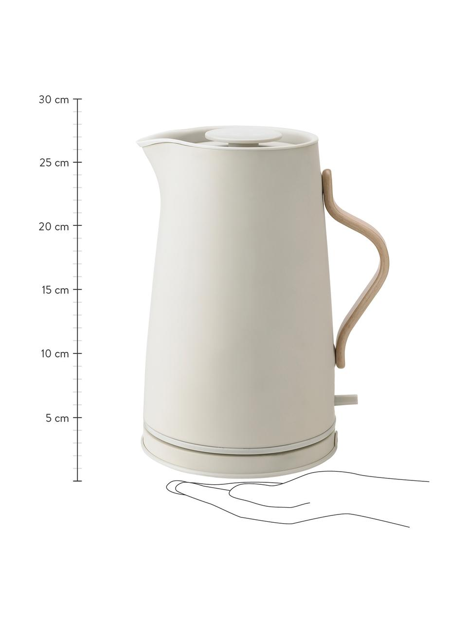 Wasserkocher Emma in Beige/matt, 1.2 L, Korpus: Edelstahl, beschichtet, Griff: Buchenholz, Beige, 1.2 L