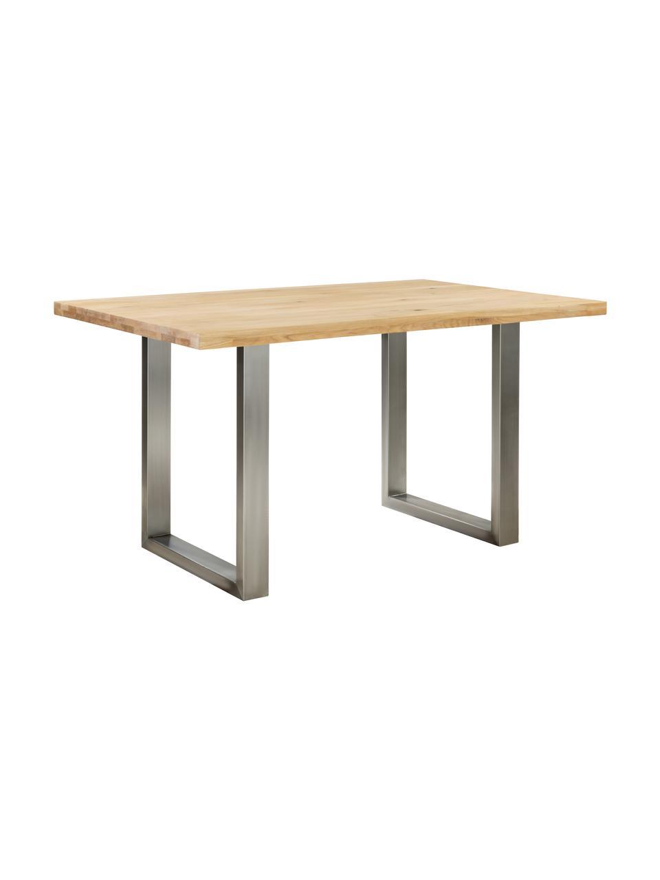 Esstisch Oliver mit Massivholzplatte, Tischplatte: Wildeichenlamellen, massi, Beine: Metall, lackiert, Wildeiche, Edelstahl, B 200 x T 100 cm