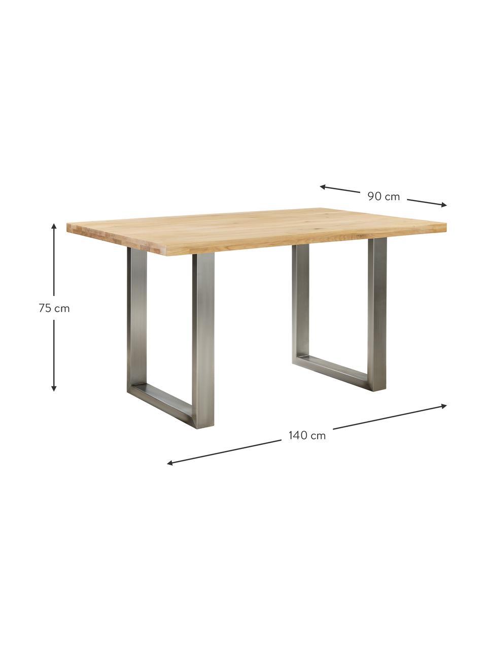 Mesa de comedor Oliver, tablero de madera maciza, Tablero: madera de roble maciza y , Patas: acero mate lacado, Roble, acero inoxidable, An 160 x F 90 cm