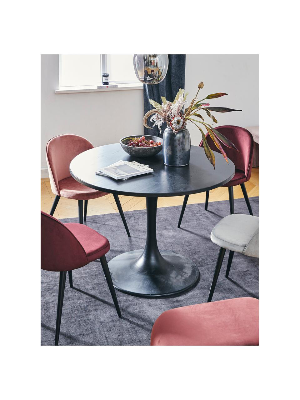 Moderne fluwelen stoelen Amy, 2 stuks, Bekleding: fluweel (polyester), Poten: gepoedercoat metaal, Roze, B 51 x D 55 cm