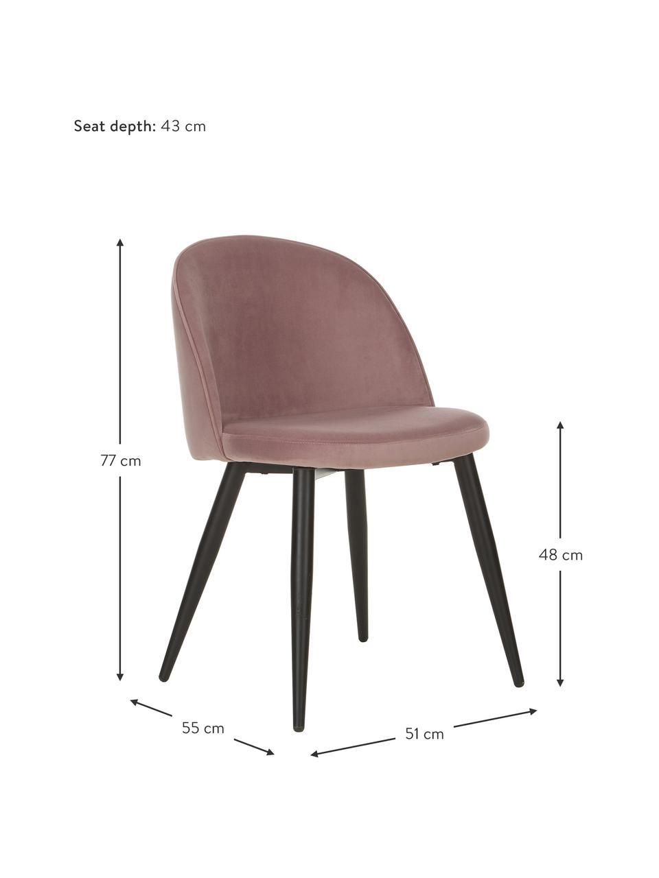 Krzesło tapicerowane z aksamitu Amy, 2 szt., Tapicerka: aksamit (poliester) Dzięk, Nogi: metal malowany proszkowo, Blady różowy, S 51 x G 55 cm