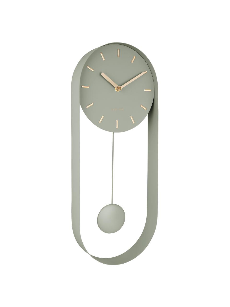 Zegar ścienny Charm, Metal powlekany, Zielony, S 20 x W 50 cm
