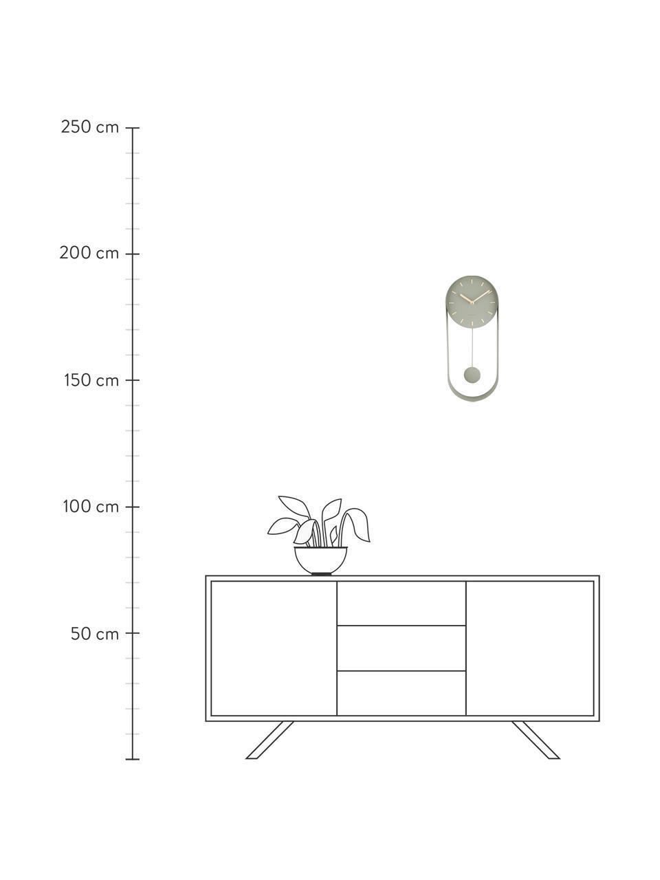 Wanduhr Charm, Metall, beschichtet, Grün, 20 x 50 cm