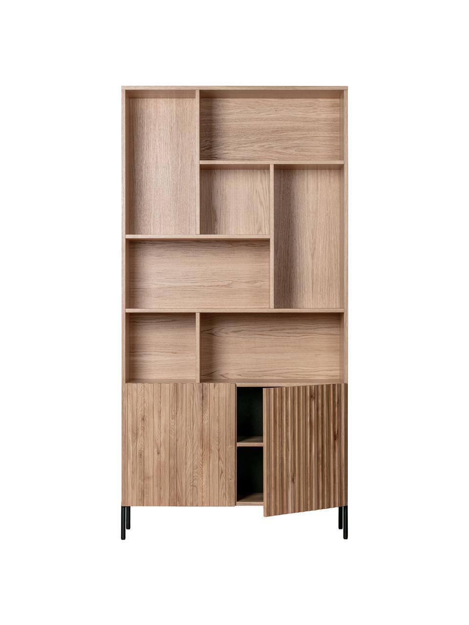 Libreria in legno di quercia Gravure, Piedini: metallo verniciato, Ripiani: compensato laminato, Legno di quercia, Larg. 100 x Alt. 200 cm