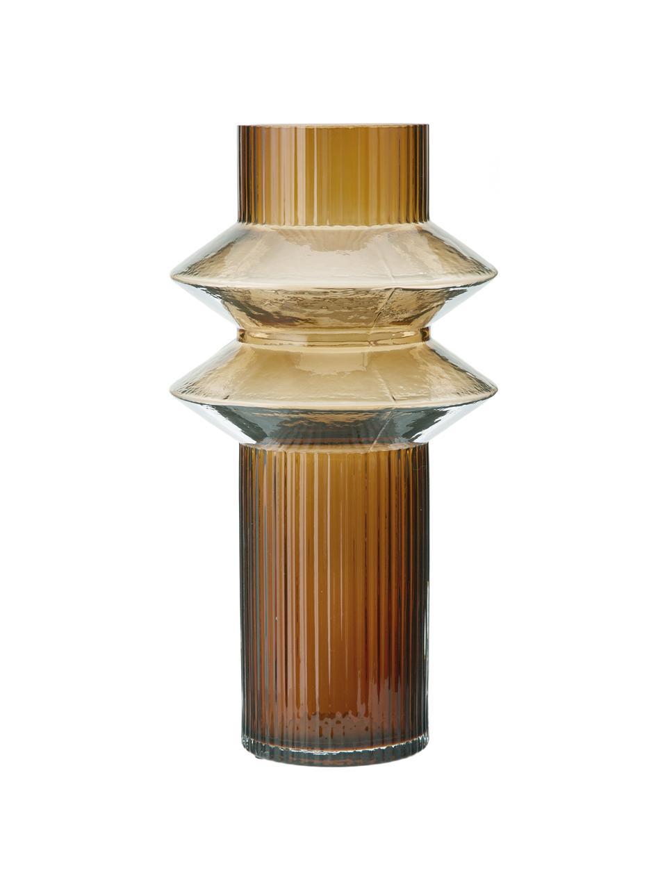 Duży wazon ze szkła Rilla, Szkło, Odcienie bursztynowego, Ø 9 x W 32 cm