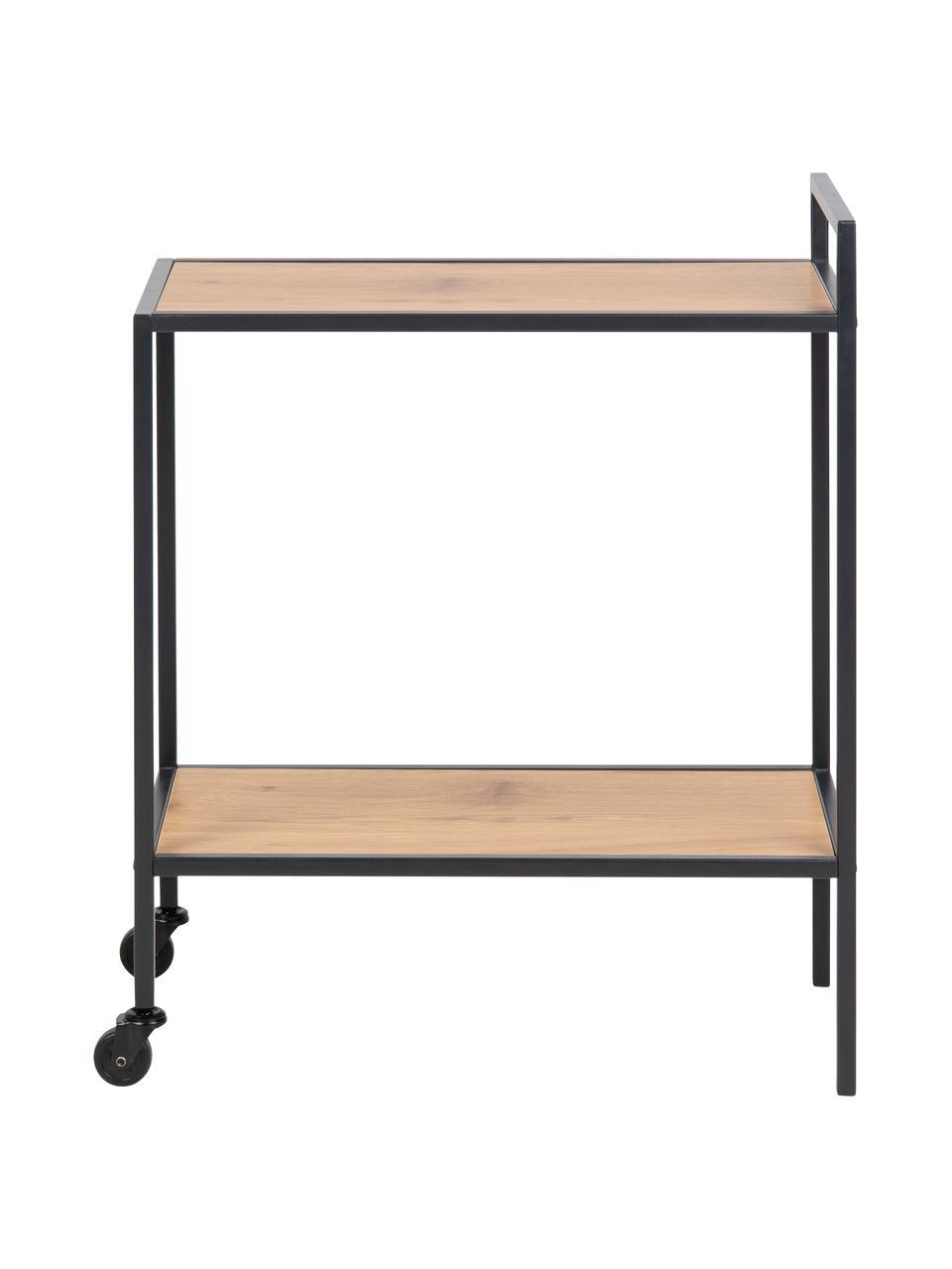 Wózek barowy z drewna i metalu Seaford, Stelaż: metal malowany proszkowo, Czarny, drewno dzikiego dębu, S 60 x W 75 cm