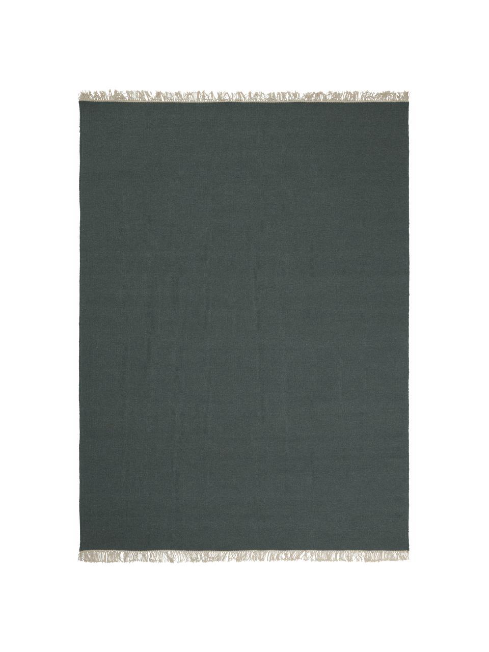 Ręcznie tkany dywan kilim z wełny z frędzlami Rainbow, Zielony, S 200 x D 300 cm (Rozmiar L)
