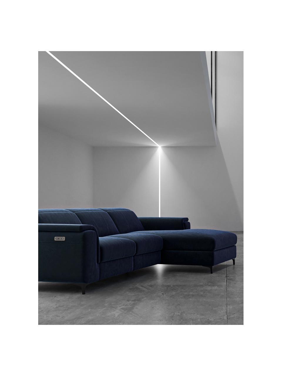 Divano angolare in velluto blu con funzione relax Brito, Rivestimento: 100% velluto di poliester, Sottostruttura: compensato, legno di fagg, Blu, Larg. 300 x Prof. 170 cm