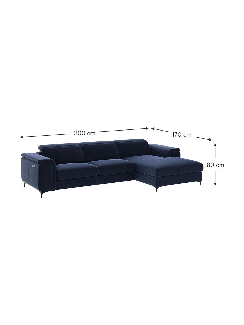 Sofa narożna z aksamitu z funkcją relaks Brito, Tapicerka: 100% aksamit poliestrowy,, Nogi: metal lakierowany, Niebieski, S 300 x G 170 cm