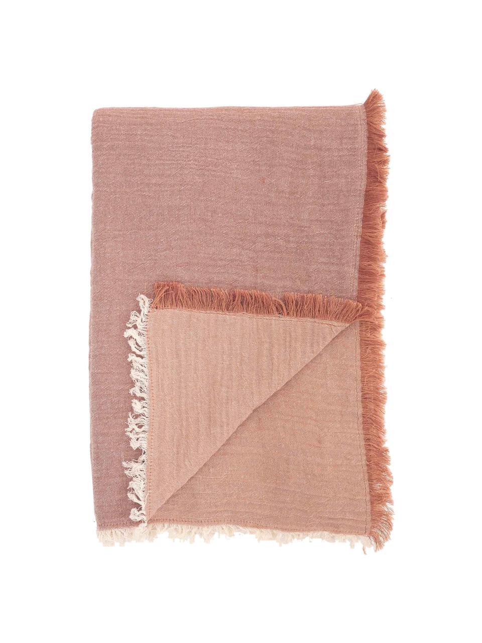 Tovaglia in cotone con frange Layer, 100% cotone, Rosso, Per 4-6 persone (Larg.160 x Lung. 160 cm)