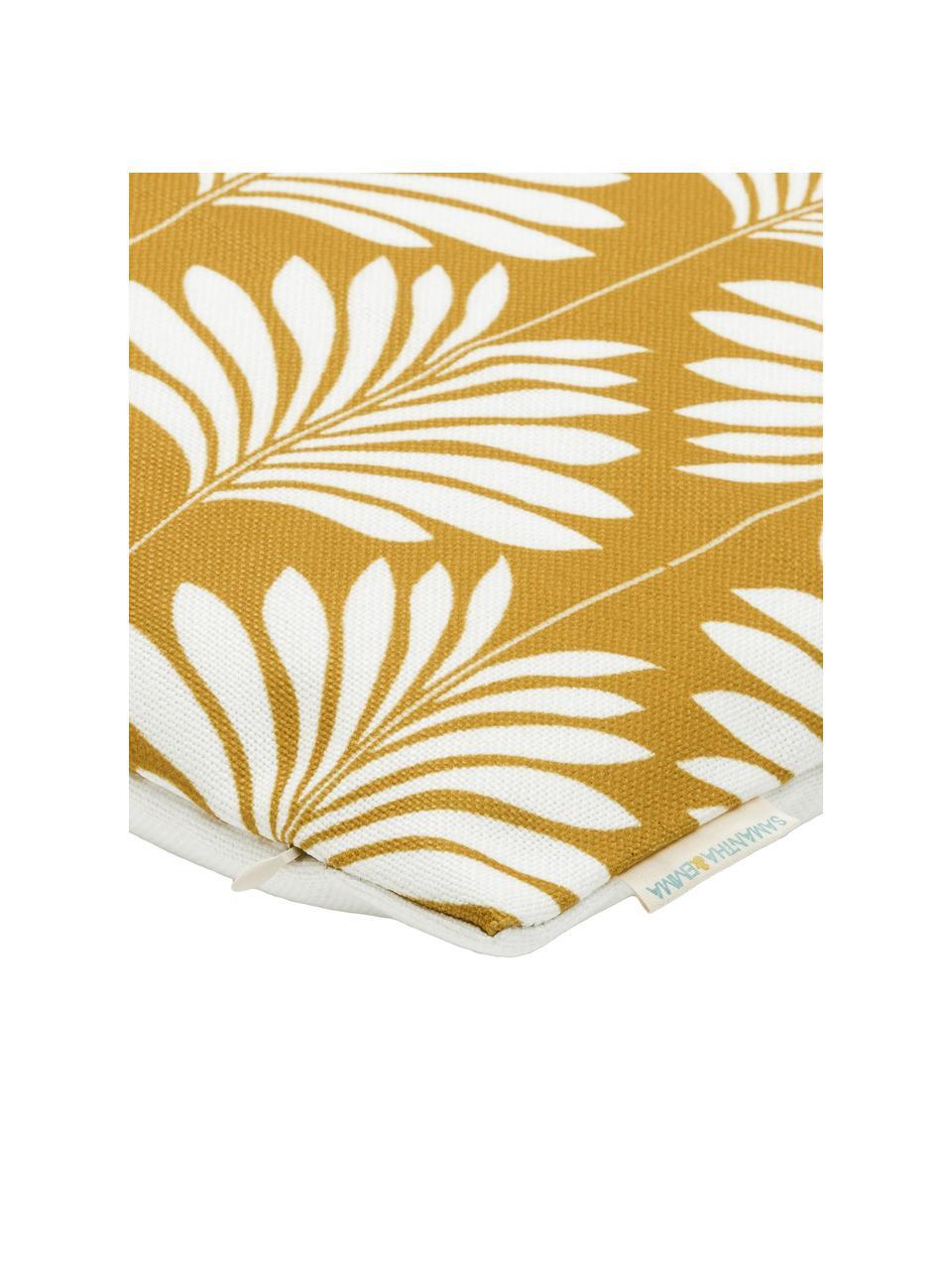 Poszewka na poduszkę z lnu  Agga, 60% len, 40% bawełna, Żółty, biały, S 45 x D 45 cm