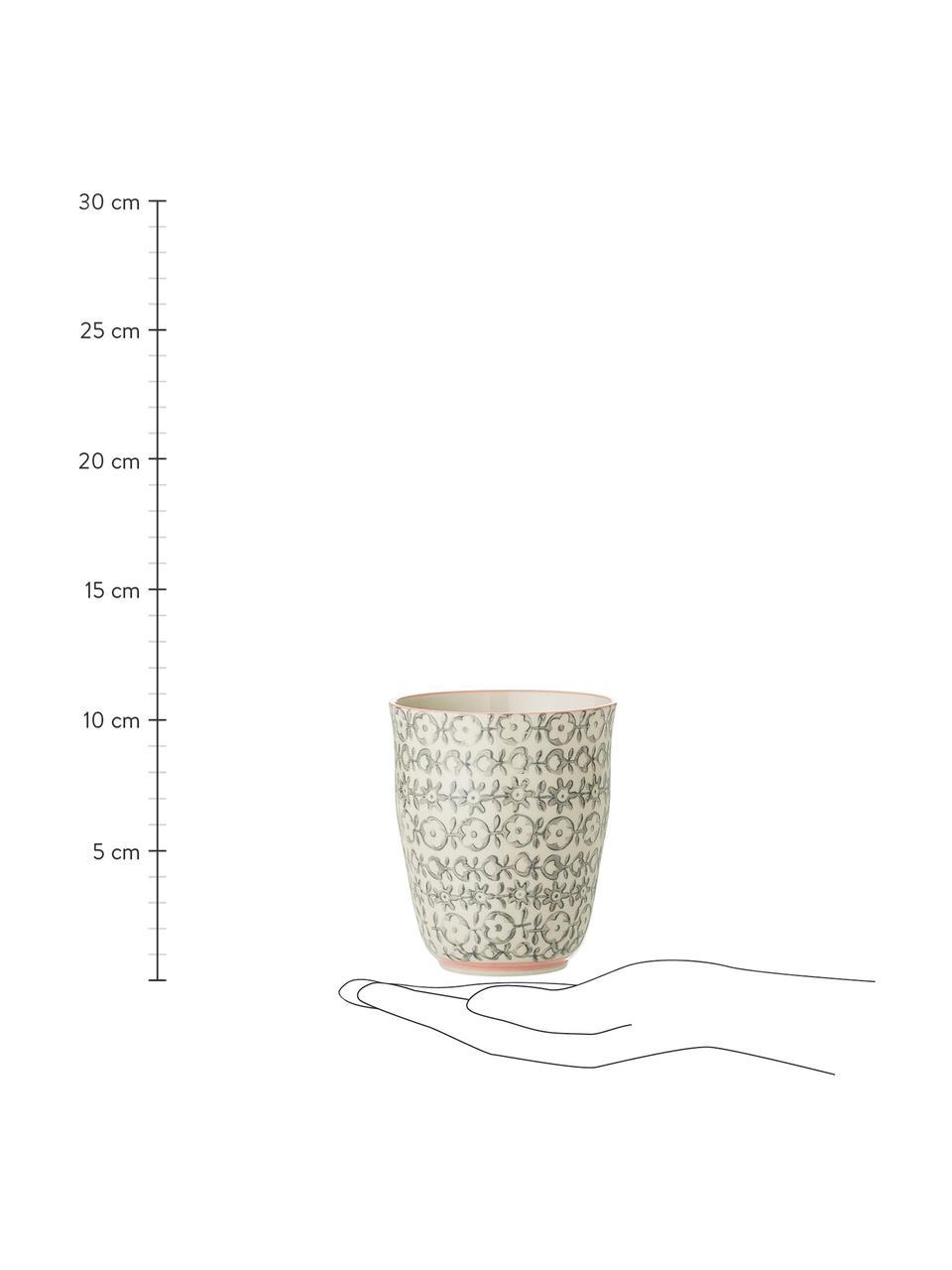 Becher Cécile mit kleinem Muster, 3er-Set, Steingut, Beige, Grün, Rosa, Ø 9 x H 10 cm