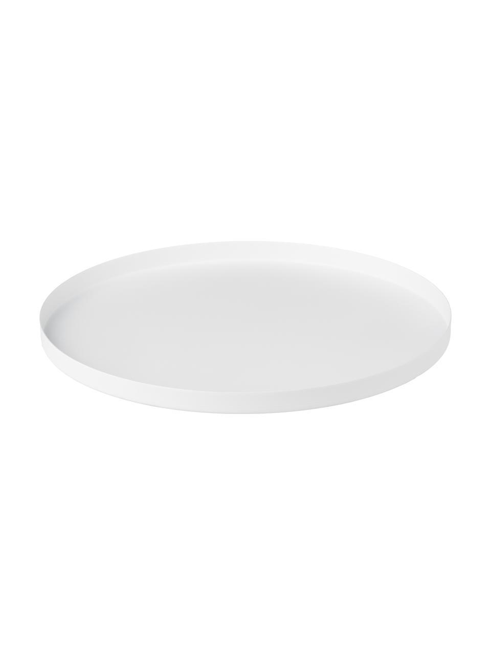 Bolvormige decoratief dienblad Circle in wit, Gepoedercoat edelstaal, Mat wit, Ø 40 x H 2 cm