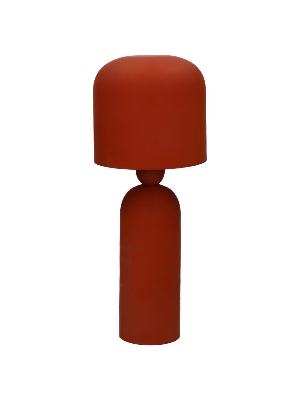 Design Tischlampe Bul in Rot, Lampenschirm: Metall, beschichtet, Lampenfuß: Metall, beschichtet, Terrakottarot, Ø 15 x H 35 cm