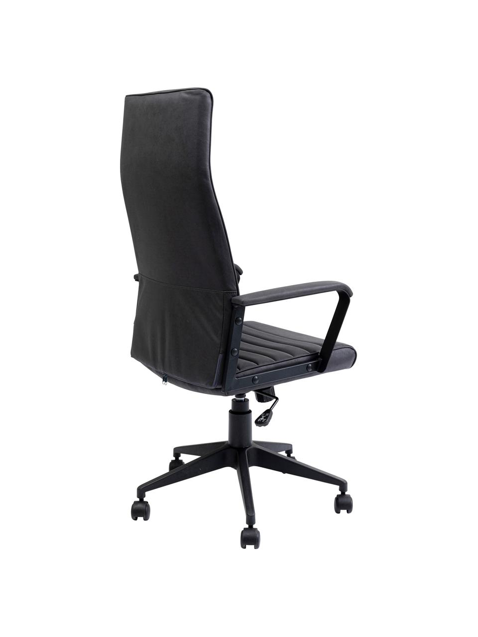 Biurowe krzesło obrotowe ze sztucznej skóry Labora, Tapicerka: sztuczna skóra, Czarny, S 58 x W 128 cm