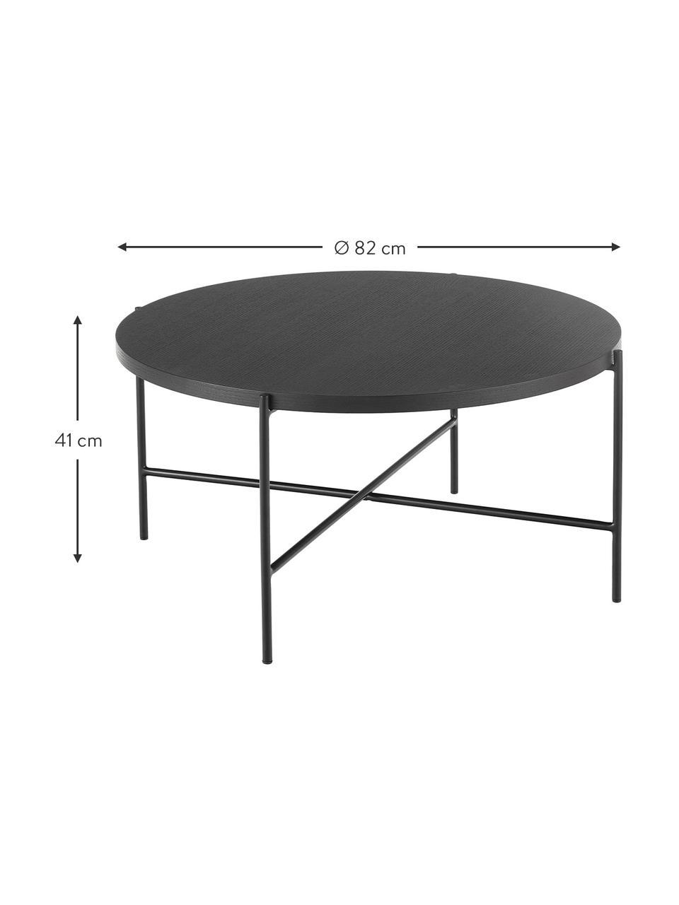 Zwarte salontafel Mica met houten tafelblad, Tafelblad: MDF met eikenhoutfineer, Frame: gepoedercoat metaal, Tafelblad: zwart gelakt eikenhoutfineer. Poten: mat zwart, Ø 82 x H 41 cm