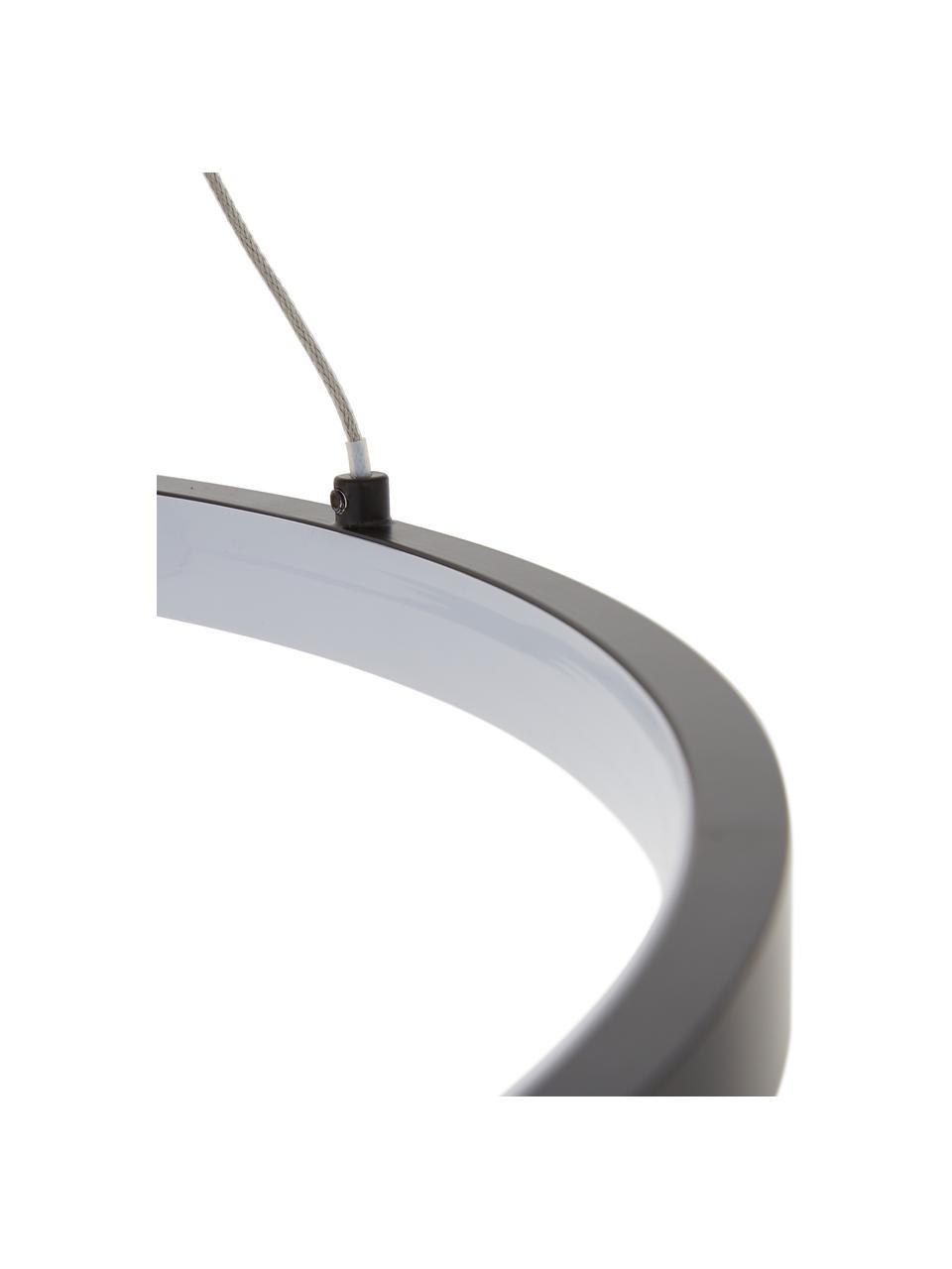 Lampada a sospensione a LED Jay, Baldacchino: Alluminio verniciato a po, Paralume: Alluminio verniciato a po, Baldacchino: nero opaco paralume: nero opaco cavo: argento, Ø 60 x Alt. 150 cm