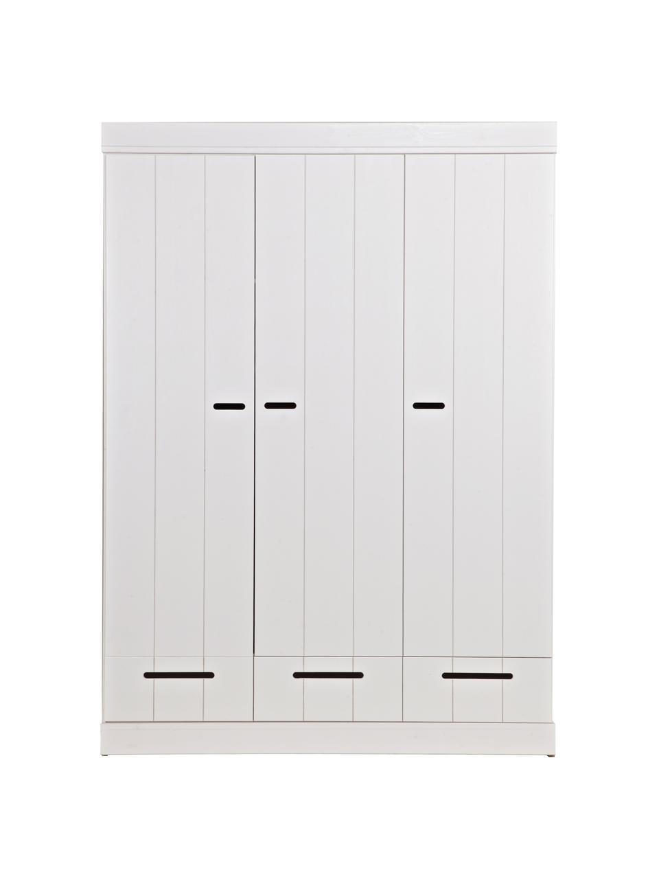 Armadio bianco Connect, Ripiani: melamina, Bianco, Larg. 140 x Alt. 195 cm