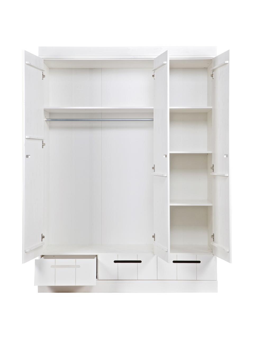 Szafa Connect, Korpus: drewno sosnowe, lakierowa, Biały, S 140 x W 195 cm