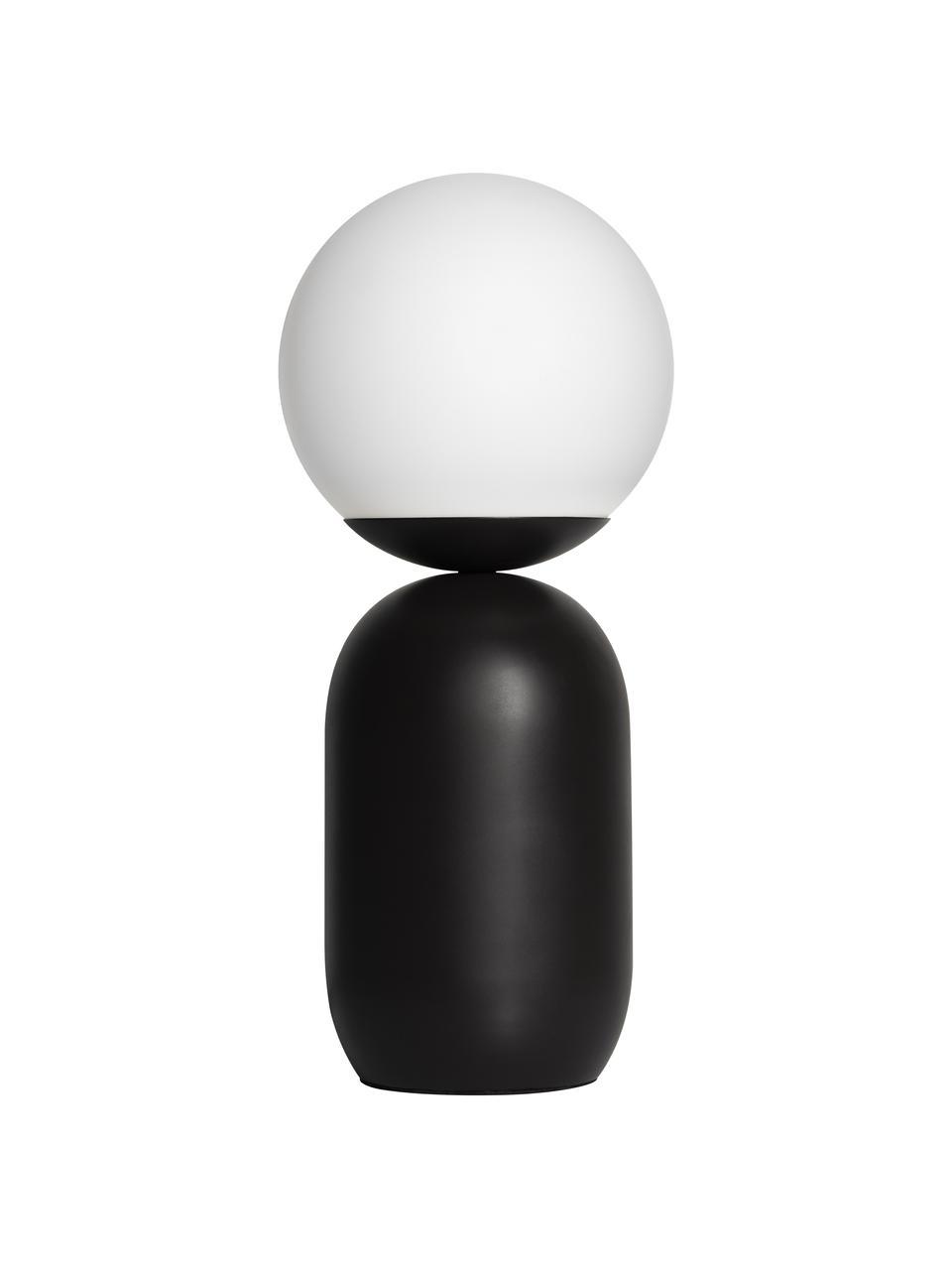 Lampa stołowa ze szklanym kloszem Notti, Czarny, biały, Ø 15 x W 35 cm