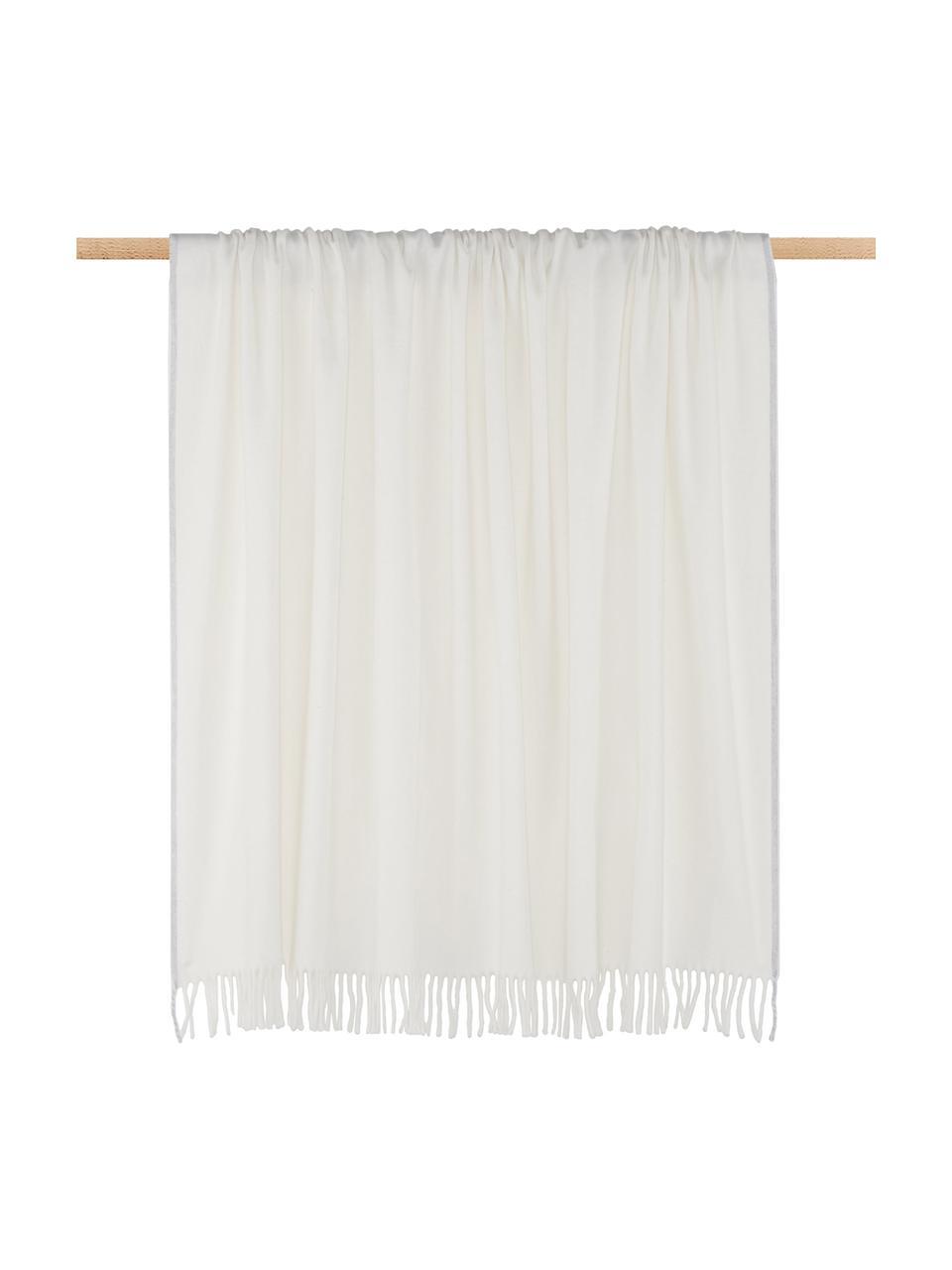 Plaid Inka in Weiß mit grauem Abschluss, 50%Polyacryl, 50%Baumwolle, Elfenbein, Hellgrau, 130 x 170 cm