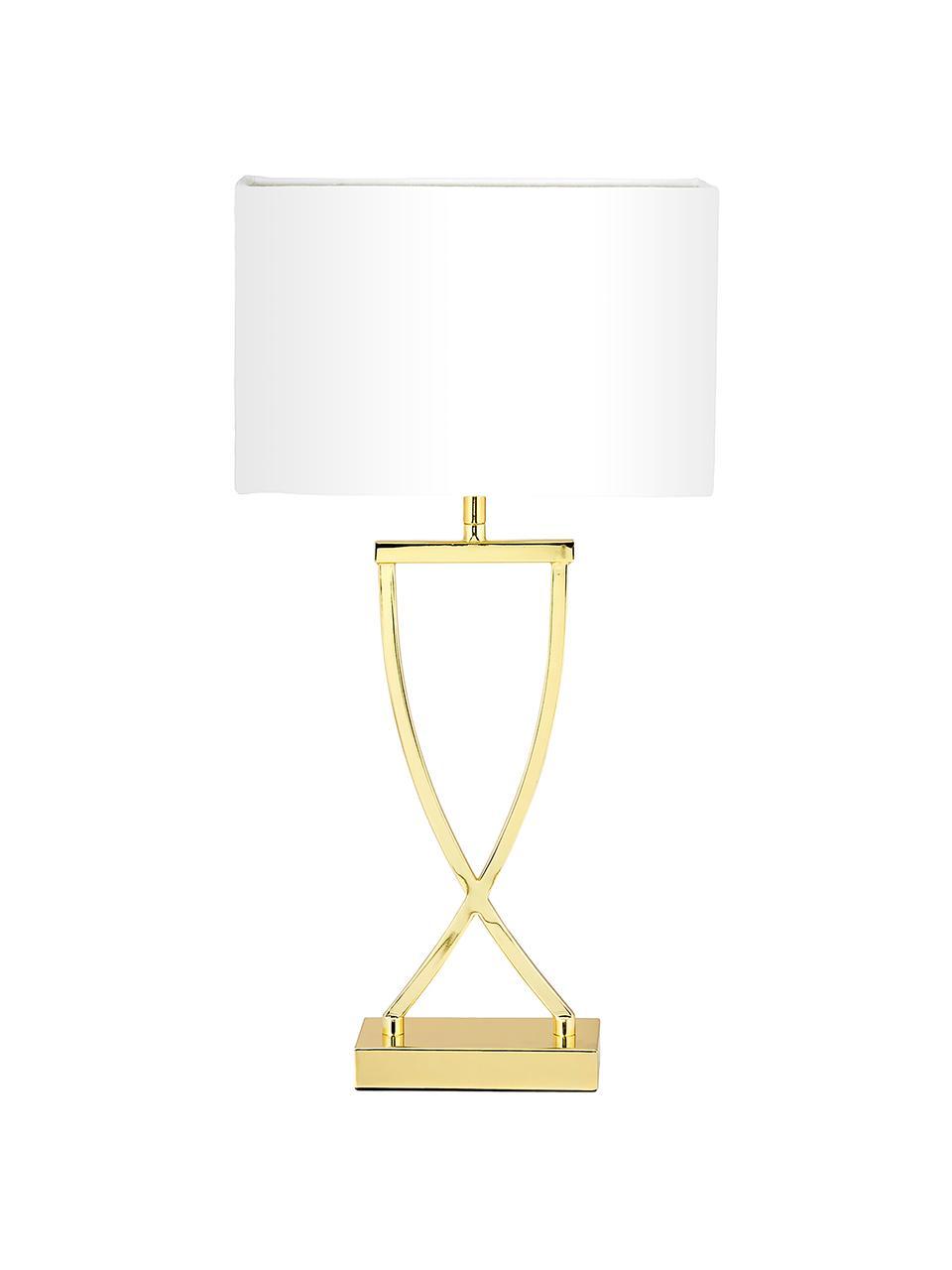 Große Klassische Tischlampe Vanessa in Gold, Lampenfuß: Metall, Lampenschirm: Textil, Goldfarben, 27 x 52 cm