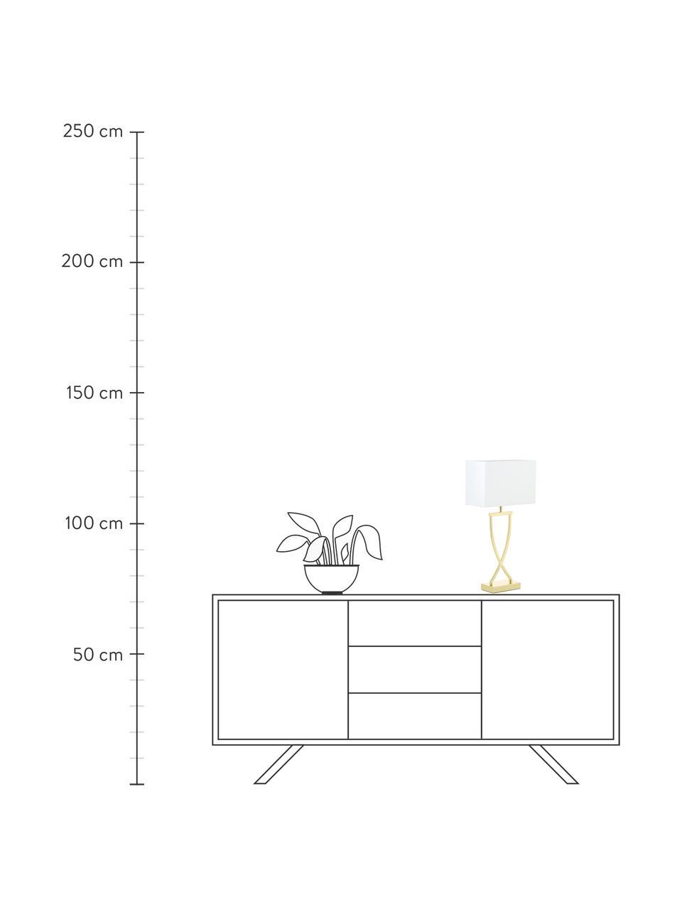 Lampada da tavolo classica in argento Vanessa, Base della lampada: Metallo, Paralume: Tessuto, Dorato, Larg. 27 x Alt. 52 cm