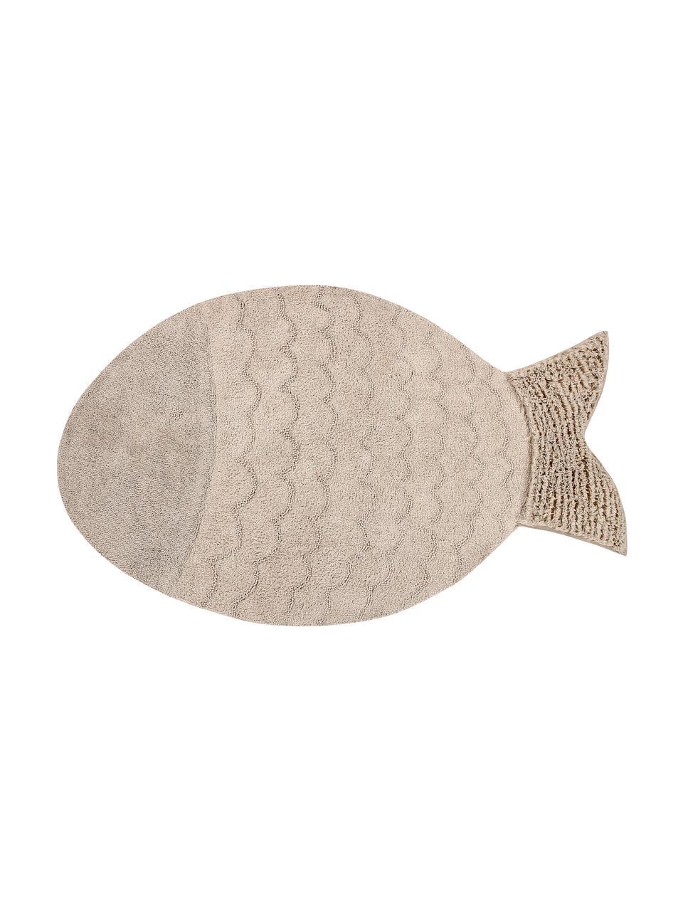 Tappeto a forma di pesce lavabile Big Fish, Vello: 97% cotone, 3% cotone ric, Retro: cotone riciclato, Beige, Larg. 110 x Lung. 180 cm