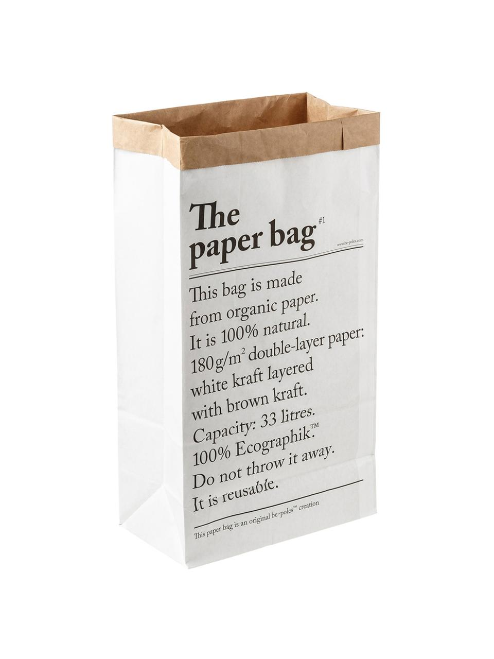 Sacchetto Le sac en papier 33l, Carta riciclata, Bianco, Larg. 32 x Alt. 60 cm