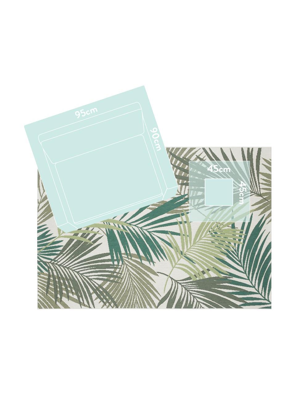 In- en outdoor vloerkleed Vai met bladpatroon, 100% polypropyleen, Groentinten, beige, B 120 x L 170 cm (maat S)