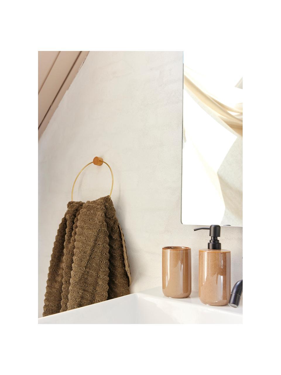 Keramische zeepdispenser Tin in bruin, Houder: keramiek, Bruin, zwart, Ø 8 x H 13 cm