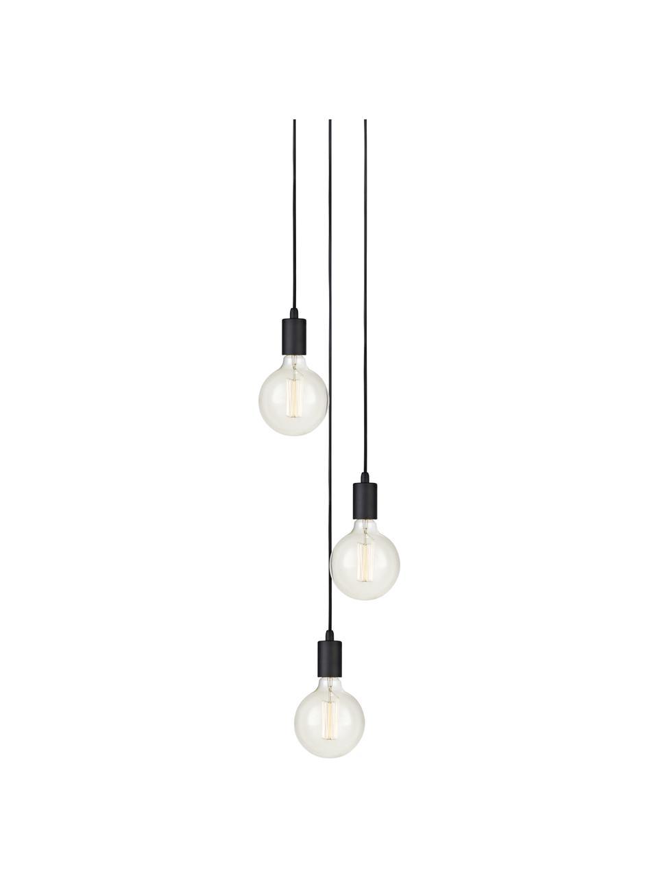 Suspension industrielle 3 lampes ampoule nue Sky, Noir