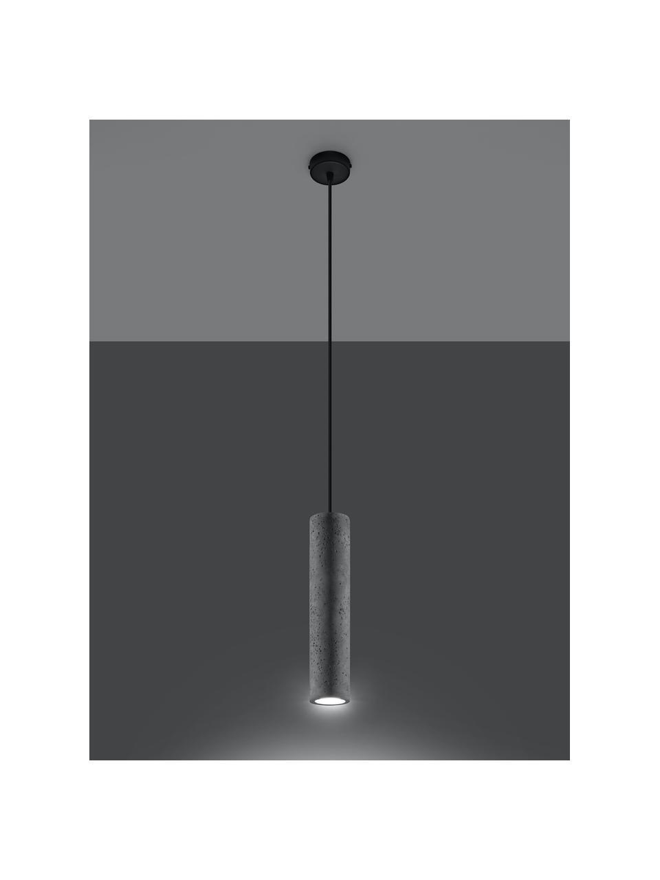 Lampa wisząca z betonu Fadre, Szary, czarny, Ø 7 cm