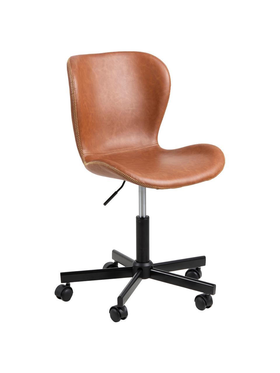 Obrotowe krzesło biurowe ze sztucznej skóry Batilda, Tapicerka: sztuczna skóra, Nogi: metal malowany proszkowo, Koniakowy, S 55 x G 54 cm