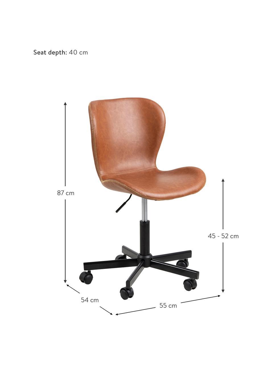 Krzesło biurowe ze sztucznej skóry Batilda, obrotowe, Tapicerka: sztuczna skóra, Nogi: metal malowany proszkowo, Koniakowy, S 55 x G 54 cm