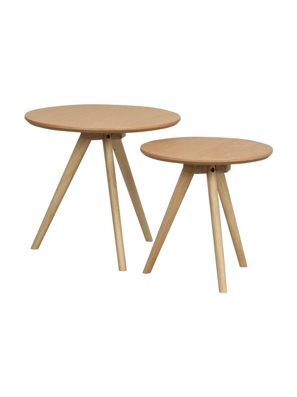Komplet stolików pomocniczych Yumi, 2 elem., Blat: płyta pilśniowa (MDF) z f, Nogi: lite drewno dębowe, Jasny brązowy, Komplet z różnymi rozmiarami
