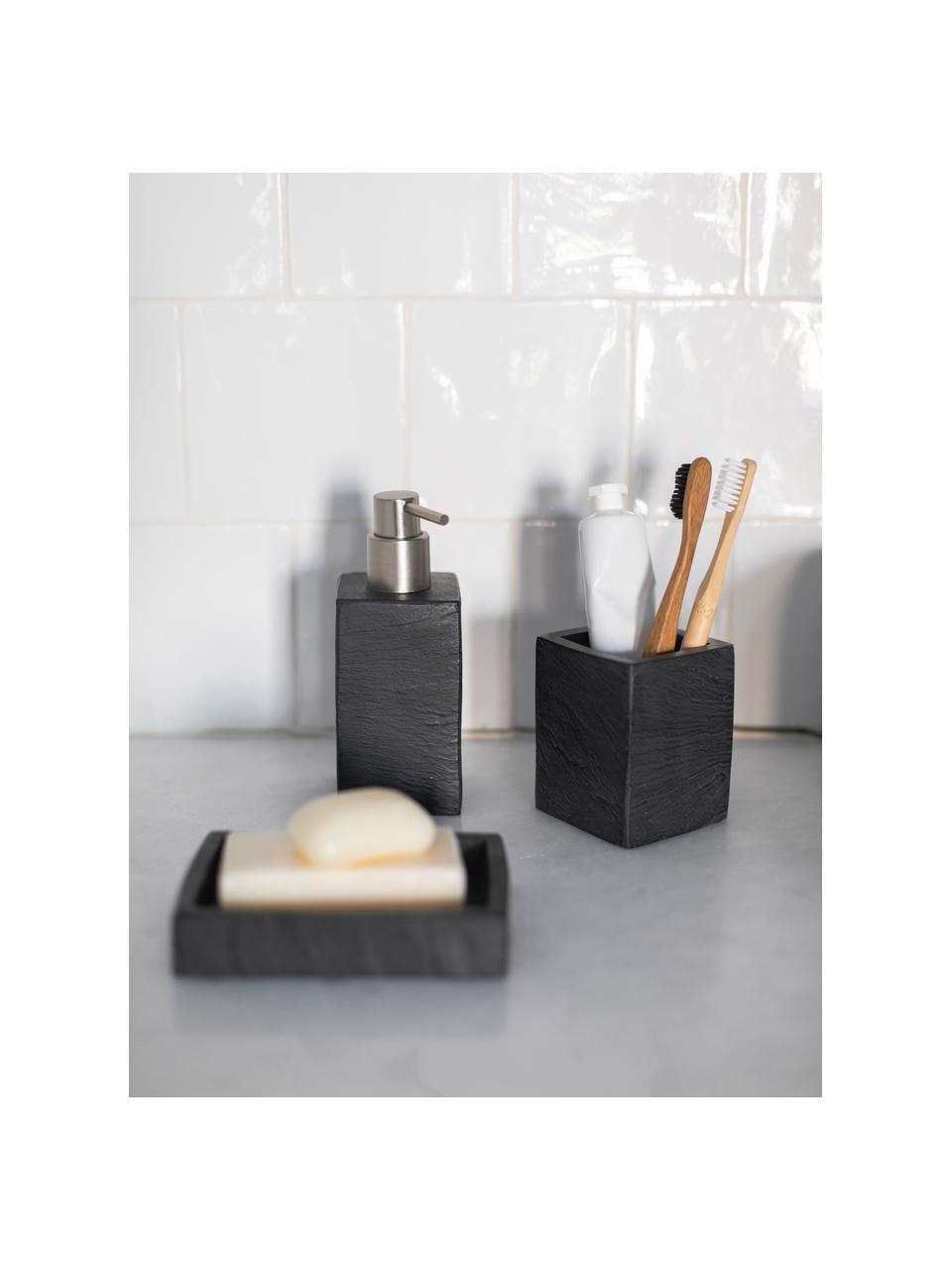 Kubek na szczoteczki Slate, Poliresing, Czarny, S 8 x W 10 cm
